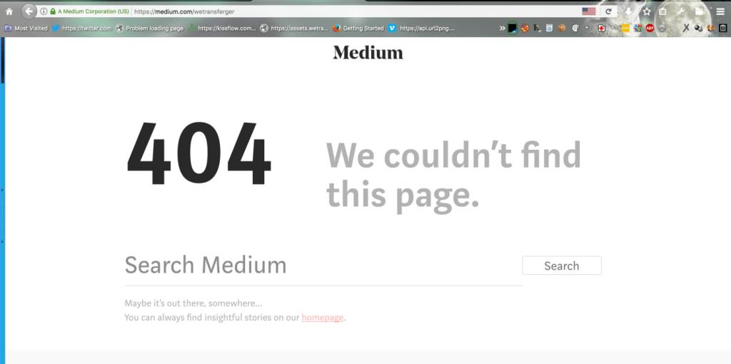 404 error on medium
