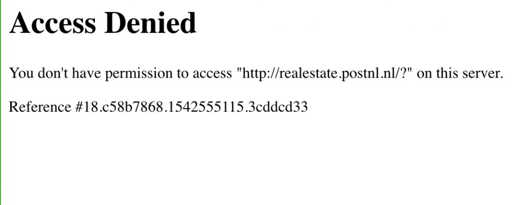 Forbidden Error WAF postnl