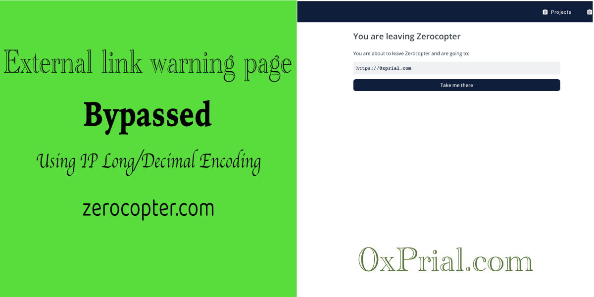 External link warning page bypass in Zerocopter